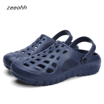 2019 men's sandals summer slippers fashion beach sandals casual flat slippers men's hollow shoes comfortable hole sandals фото