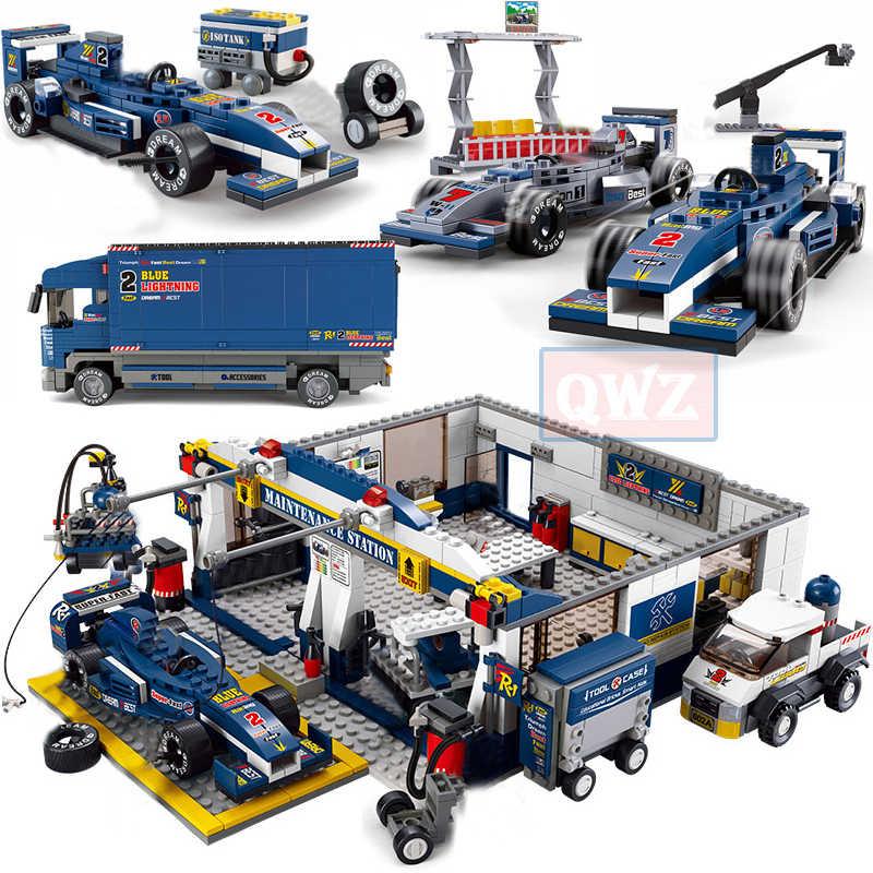 Città Legoes Formulaed 1 F1 Velocità Car Racing Stazione di Riparazione di Camion Building Block Figura Del Capretto Technic Auto Mattoni di Giocattoli Per Bambini regali