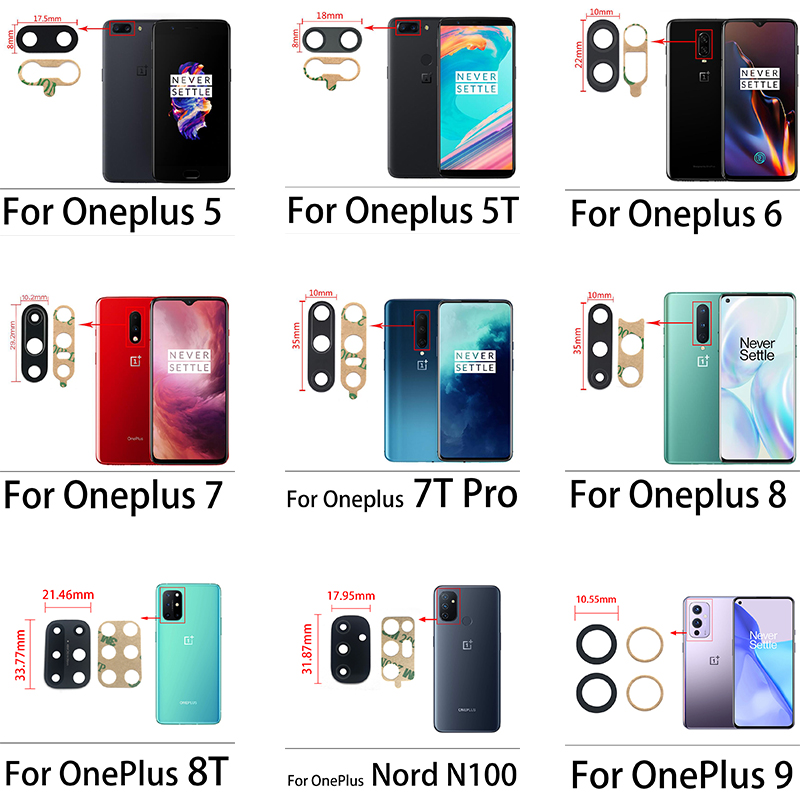 Original New Rear Back Camera Glass Lens With Glue Sticker Adhesive For Oneplus 3 5 5T 6 6T 7 7T 8 Pro Nord 8T 9 Pro Nord 100