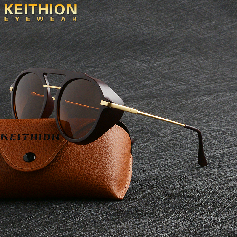 KEITHION Vision Polarized Sunglasses Men Women Small Round Goggles Yellow Sun Glasses Driver Driving UV400 Eyewear