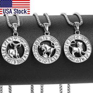 Silver Color 12 Horoscope Zodiac Sign Pendant Necklace For Women Men Stainless Steel Constellations Jewelry Gift Dropship KP656