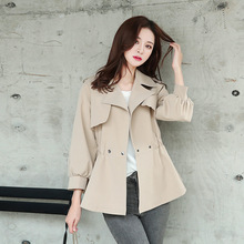 New style womens windbreaker spring and autumn Lapel slim waist short blazer feminino
