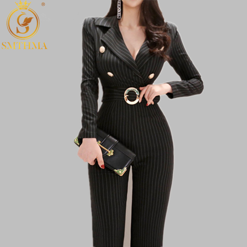 2019 New Arrival High Quality Spring Elegant Rompers Womens Jumpsuit Black Striped High Waist Long Jumpsuit