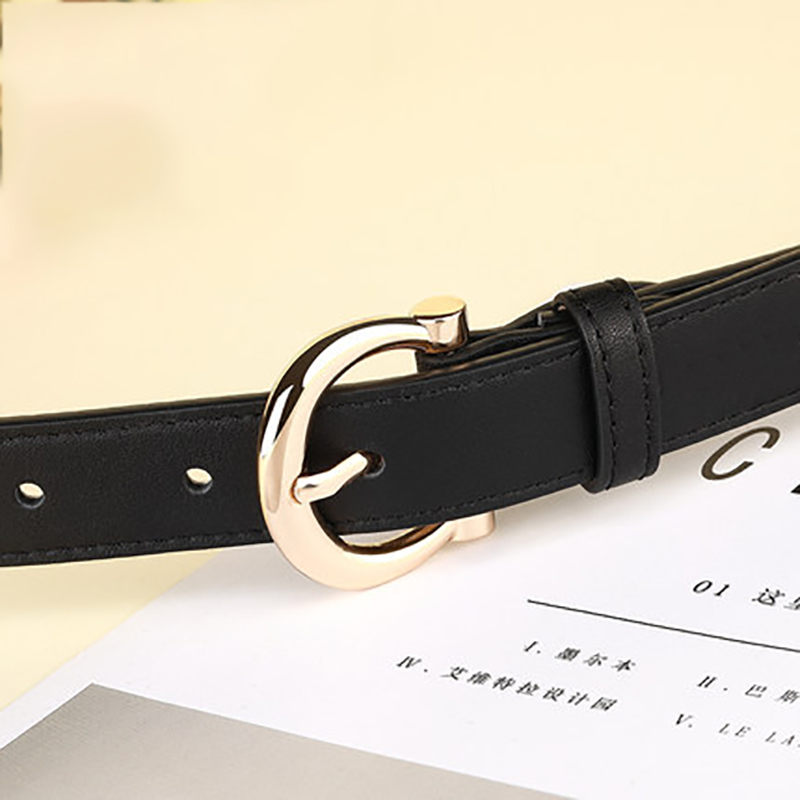 Brand Designer Belt Woman Gold Buckle Black White Leather Belts For Women Female Jeans Narrow Ladies Waist Belt Waistband