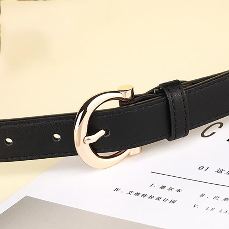 Brand Designer Belt Woman Gold Buckle Black White Leather Belts For Women Female Jeans Narrow Ladies Waist Belt Waistband