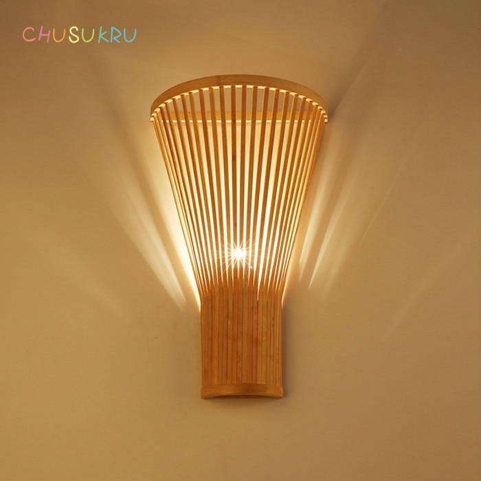 novo chines sala de estar lampada moderna simples bambu lampada de parede criativo mao tecido de