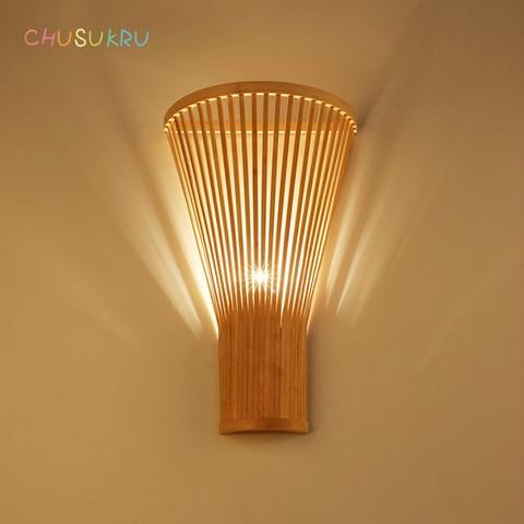 novo chines sala de estar lampada moderna simples bambu lampada de parede criativo mao tecido