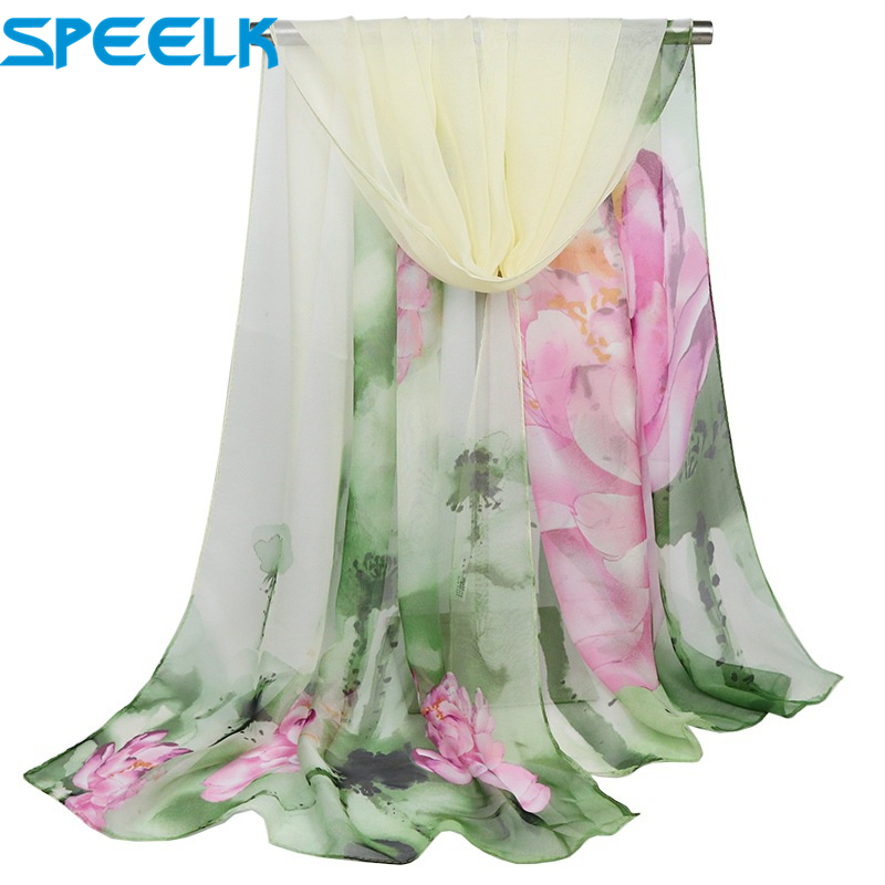 New Lotus Oil Painting Scarves Women Thin Long Shawl Scarf Lady Autumn Printed Silk Wraps Female Flower Hijab Stoles Wholesale