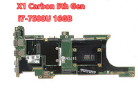 100% working 01AY066 For LENOVO Thinkpad X1C I7-7500U+16gb ram Laptop Motherboard X1 Carbon 5th Gen NM-B141 SR2ZV DDR4 1