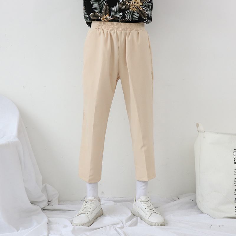 Nirben Korean-style Black And White With Pattern Loose-Fit Casual Capri Pants England Suit Straight Leg