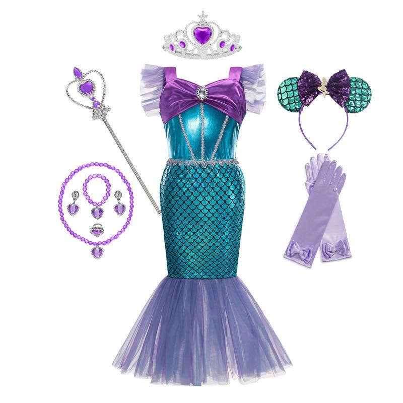 Mädchen Prinzessin Kleid Pailletten Kleine Meerjungfrau Kostüm Phantasie Mädchen Kleidung Kinder Skala Strand Party Outfit Cosplay Halloween