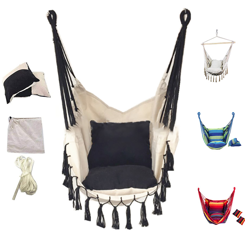 Maximum Load 150KG Tassel Garden Hammock Chair Portable Travel Camping Hanging Hammock Swing Chair Swing For Camping Furniture