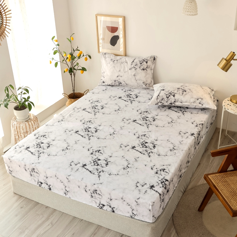 Bonenjoy 3 pcs Fitted Bed Sheets Single drap de lit Geometric Pattern Stitching Mattress Cover with elastic For Double Bed Sheet 30