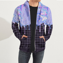 High Quality Oversize Sweat Shirts Men Oil Paint Print Long Sleeves Zipper Hooded Hoodies Jacket Men Hip Hop Casual Sweatshirts