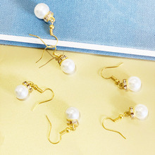 Drop Hanging Dangle Gold Plated New High Quality Retro Simple Crystal Hot Sale Imitation Pearl Earrings Jewelry for Women girls