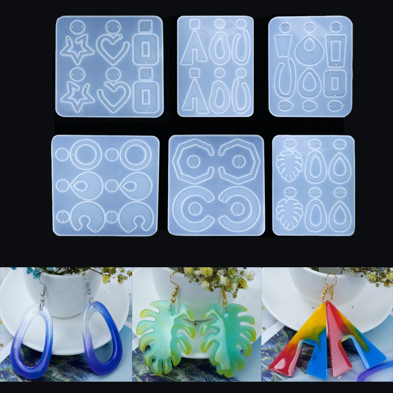 DIY Crystal Epoxy Earrings Ear Pendant Mold Geometric Collection Mold Resin Ring Handmade Jewelry Mold