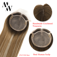 MW Silk Base Top Hair Pieces For Women Straight Remy Natural Human Hair Topper Wigs 16 20 6*6.5 150% Density FedEx Delivery