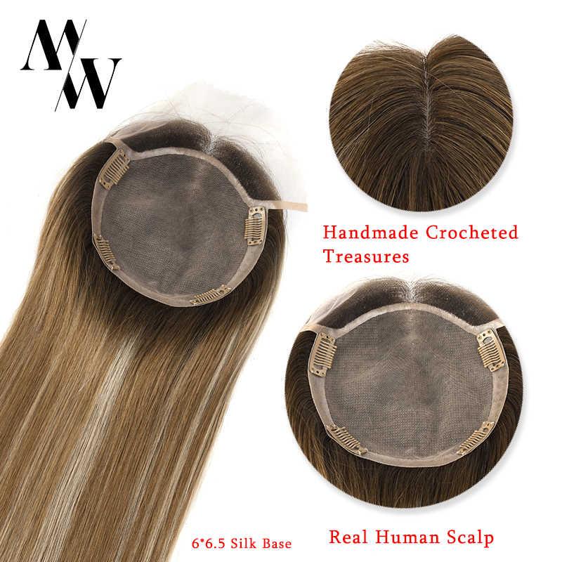 """MW Sutra Base Top Potongan Rambut untuk Wanita Lurus Remy Alami Rambut Manusia Topper Wig 16 """"20"""" 6*6.5 """"150% Density FedEx Pengiriman"""