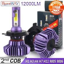 BraveWay ampoule de glace automatique pour voiture, phare Led H4 H7 H11 lumière Led 9005 HB3 BH4 H1 lampes à diodes automobiles H7, ampoule Led H4