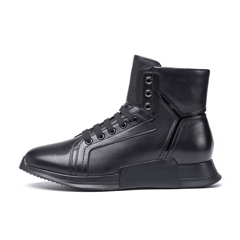 Brand New Winter Fleece Lining Casual Ankle Boots Real Leather High Top Increasing Platform Shoes Lace Up Joggers Sneakers Man