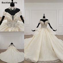 2020 Elegante Trouwjurk Sexy Diepe V-hals Backless Kralen Kant Applicaties Beach Bruidsjurk Custom Robe Mariee Boheme Dentelle(China)