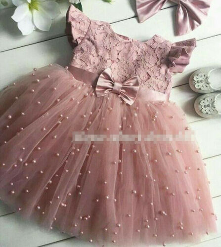 Princess Girl Lace Tulle Dress Wedding Birthday Dress Pageant Children Summer Lace Tulle Dress
