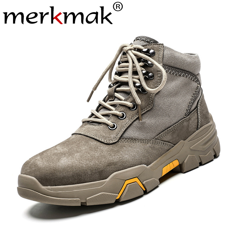 Merkmak Winter Autumn Men Boots Fashion Retro Lace-up Work Boots Warm Non-slip Snow Booties Big Size 39-48 Male Winter Shoes