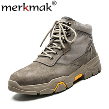 цена Merkmak Winter Autumn Men Boots Fashion Retro Lace-up Work Boots Warm Non-slip Snow Booties Big Size 39-48 Male Winter Shoes онлайн в 2017 году