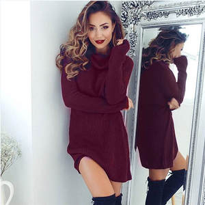 Jumper Turtleneck Blouse Coat Cable Oversized Sweater Knitted Long-Winter Women's New