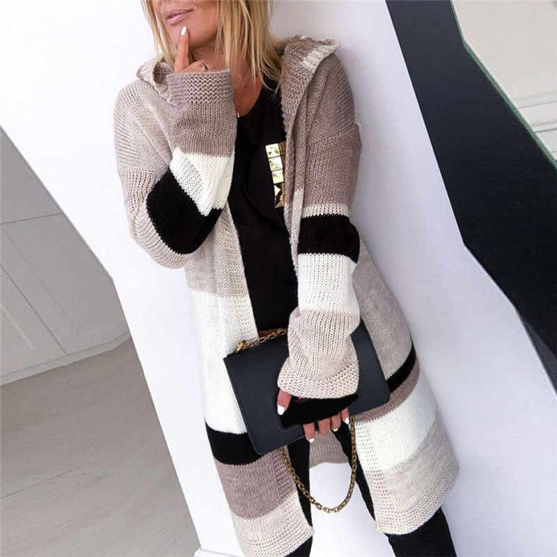Suéter de punto para mujer, novedad de 2019, jersey con capucha de manga larga con retales informal y elegante, cárdigan largo para otoño e invierno, abrigo Casual 5
