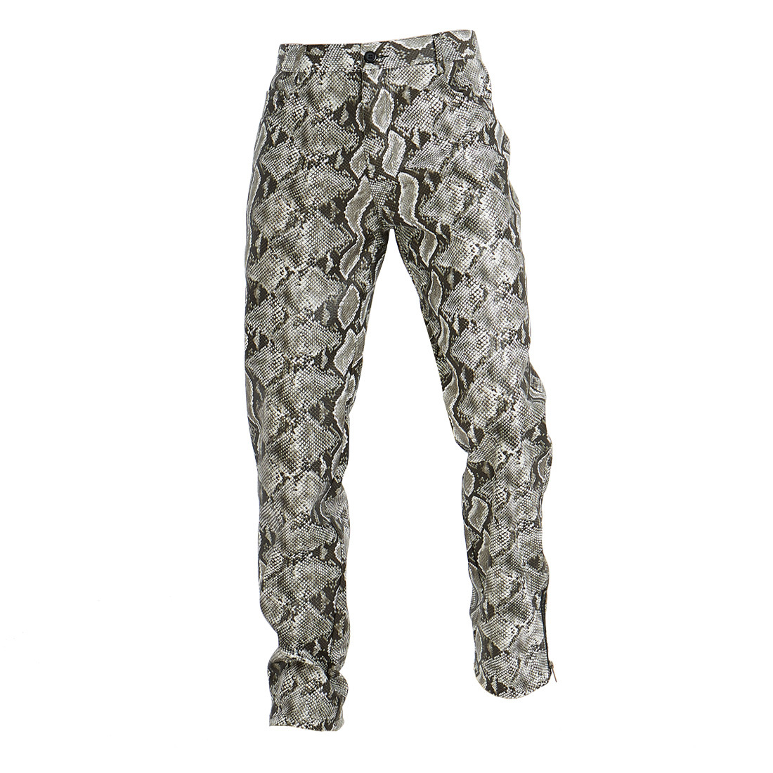 2019 New Style Ouma Casual Pants Snakeskin Print MEN'S PU Leather Pants Europe And America Fashion Man Slim Fit Pants Yk037