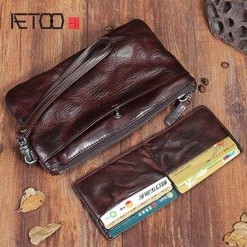 AETOO Original handmade genuine leather long wallet Vintage wrinkled multi-function large trend buckle men