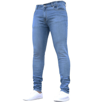 Jeans Men Elastic Waist Skinny Jeans Men 2020 Fashion Stretch Ripped Pants Streetwear Mens Casual Denim Trousers Jeans Blue D30 blue fashion low waist ripped letter pattern skinny jeans