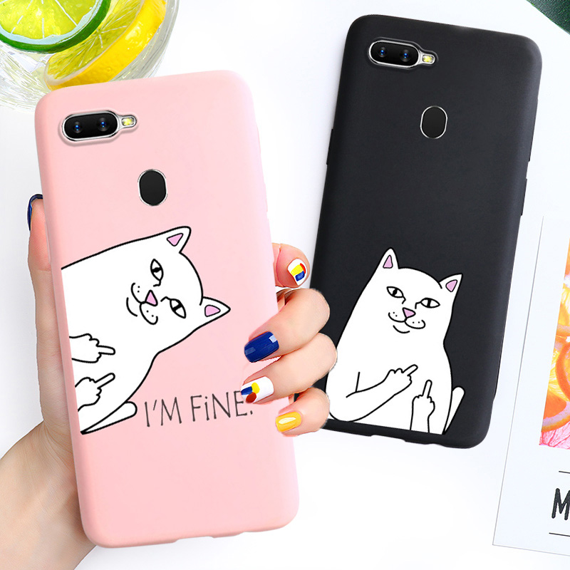 Couple Funny Cat Soft Case For <font><b>OPPO</b></font> Realme XT 5 3 2 <font><b>Pro</b></font> k1 A1K A5 A9 2020 Reno Z Ace <font><b>F11</b></font> <font><b>Pro</b></font> A9 A7 A5S A5 A3S F9 F7 F5 F3 Cases image