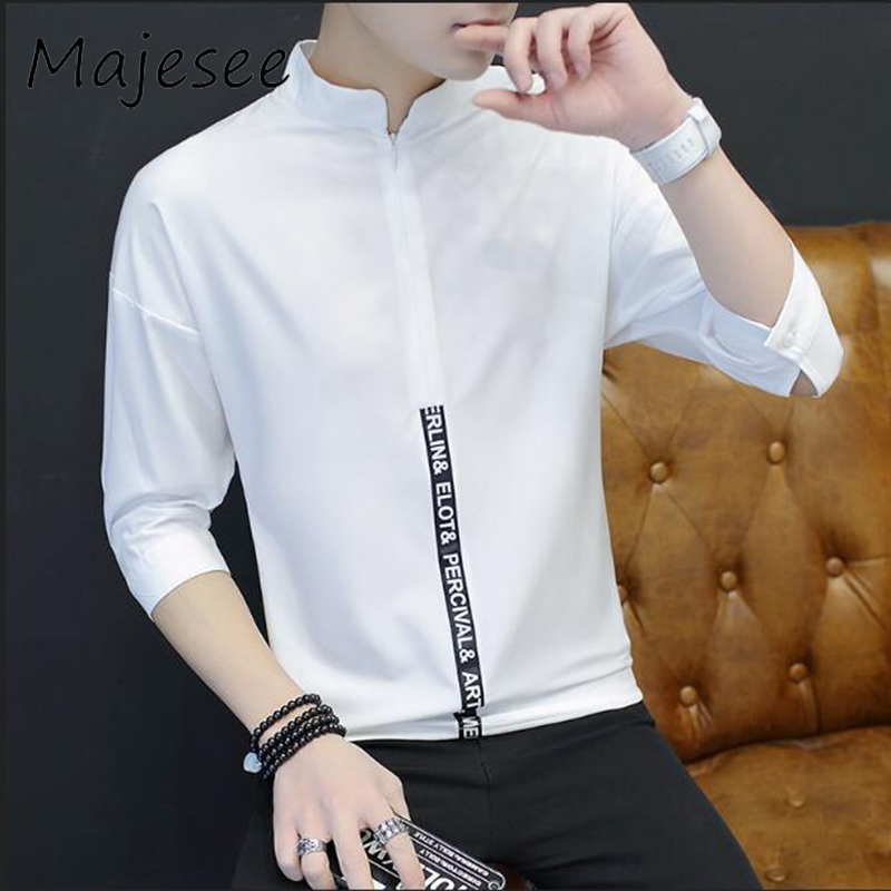 Men Shirts Long-sleeved Mens Shirt Breathable Summer Linen Slim Thin Fashion Chinese Style Chic Zipper Male Clothes 4 Colors New