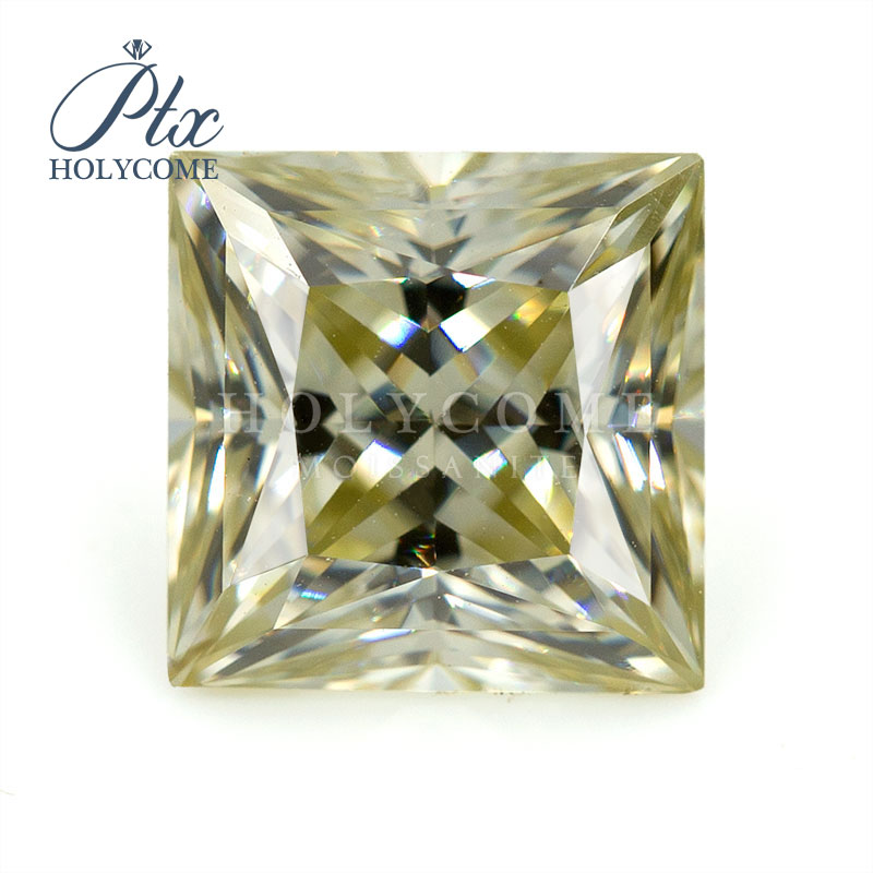 Princess cut 5.5x5.5mm size loose VVS yellow Moissanite gemstone