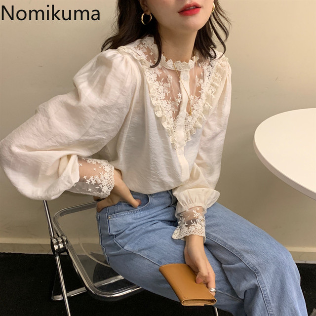 Nomikuma Elegant Vintage Stand Collar Long Sleeve Shirts Lace Patchwork See Through Fashion New Tops Blouse Women Blusas 3a236 1