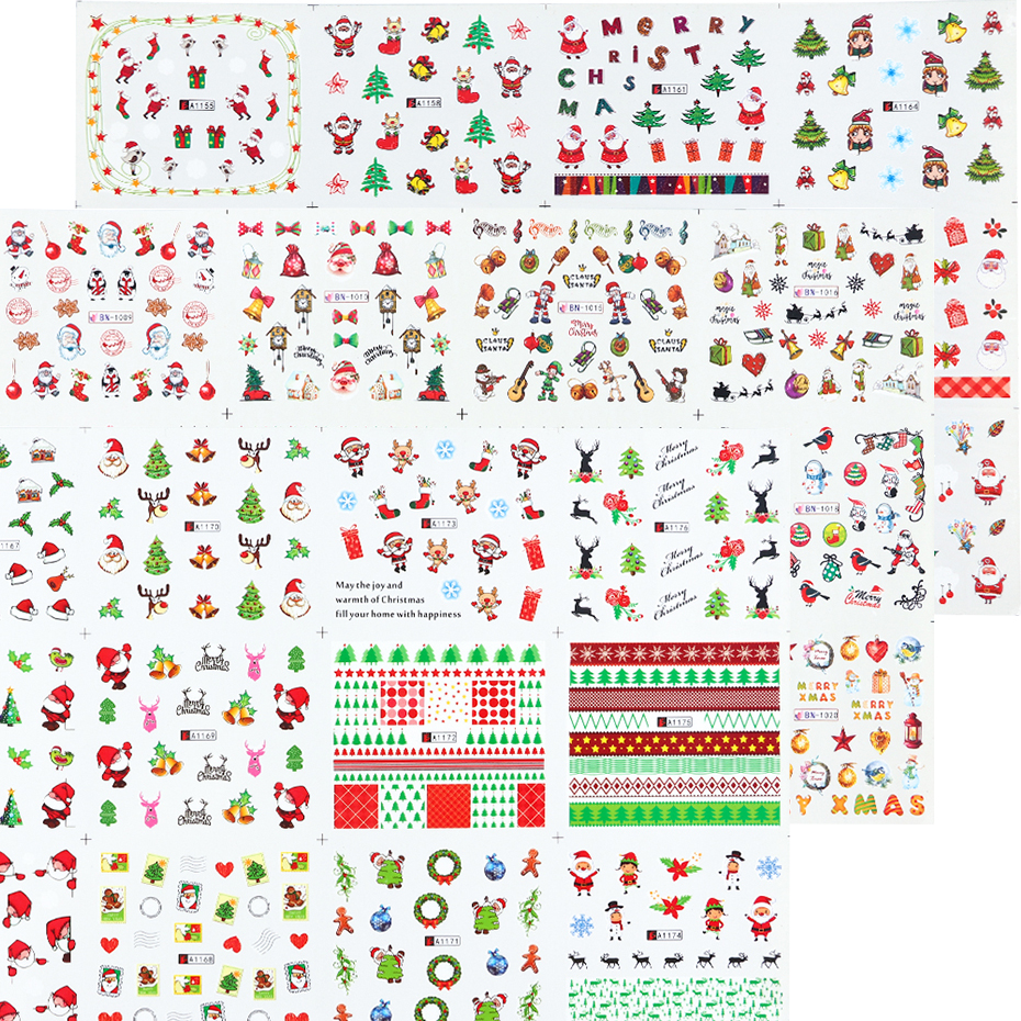 Image 2 - Xmas Cool Santa Stickers For Nails Snowflake Flowers Nail Christmas Stickers Nail Art Winter Adhesive Sliders Manicure CHBN/A 1-in Stickers & Decals from Beauty & Health