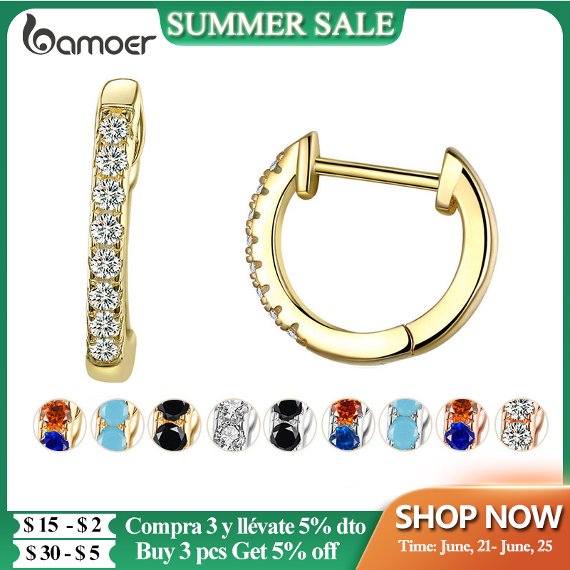 Bamoer 14K Gold Plated 925 Sterling Silver Cuff Earrings with Cubic Zircon, 10 Colors Huggie Stud for Women Girl SCE498