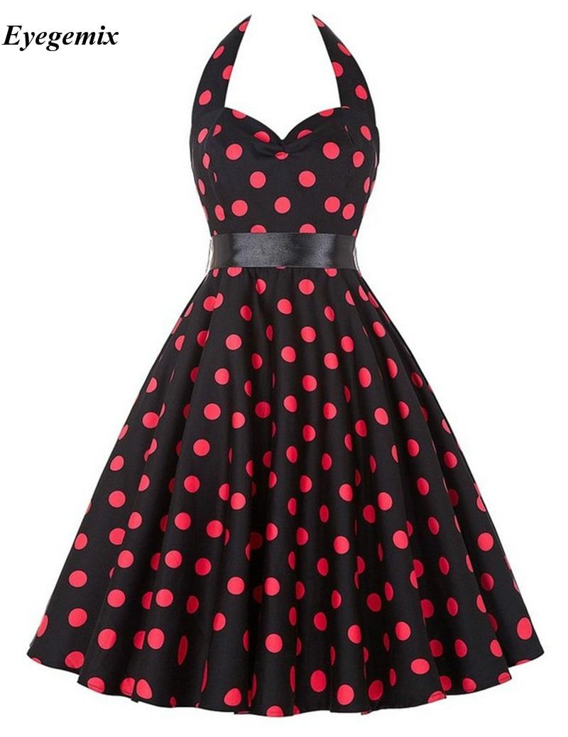 Seksowna Halter sukienka w kropki lato 2021 kwiatowe nadruki Retro Hepburn Vintage 50s 60s Pin Up sukienki Rockabilly Swing Robe Party