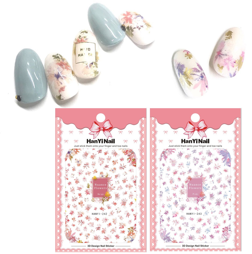 Nail Sticker Floral Pattern Flower Nail Decals Japan Official Website Celebrity Style HY242-243