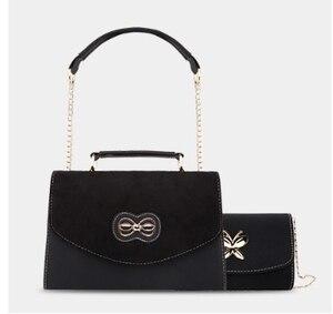Image 3 - 2019 Four Seasons Wide Shoulder Band Wine Bag Single Shoulder Slope Envelope Bag Hand held small square bag leather underarm bag