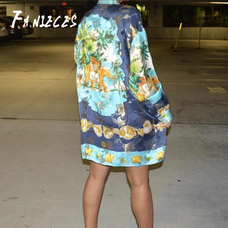 Frühling Sommer Herbst Runway Retro Barock Drucken mini kurze kleider streetwear Langarm Frauen Damen Casual Shirt Kleid vestidos