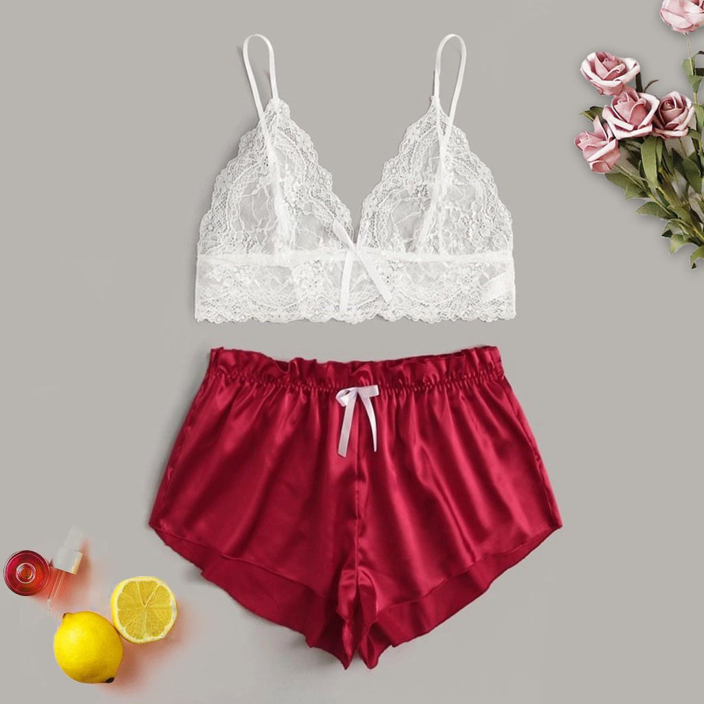 New Fashion Pyjamas Women пижама Sleepwear Plus Size Seamless Lace Wireless Bra Sexy Lingerie Satin Shorts Underwear Free Ship