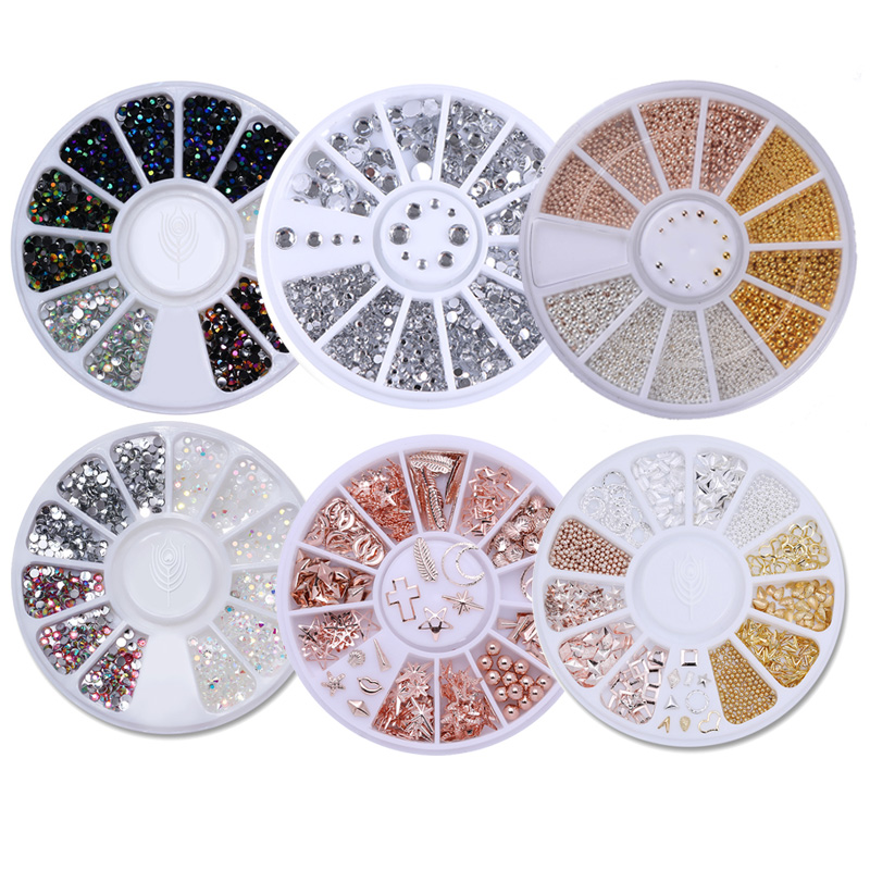 Mixed Color Nail Art 3D Decoration in Wheel Cystal Rhinestone Studs Nail Beads Colorful Multi Size AB Color