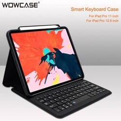 Funda de teclado Bluetooth para iPad Pro 12.9 / 11 2018 Auto Sleep / Wake Smart PU Funda protectora de cuero para Apple iPad 2018 Ligero Ultra delgado Folio Soporte Funda inalámbrica Bluetooth Pen Slot Shell