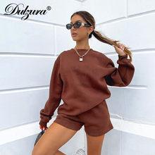 Dulzura – ensemble 2 pièces pour femmes, sweat-shirt à manches longues, short, ample, décontracté, survêtement, vêtements longs, automne hiver, 2020