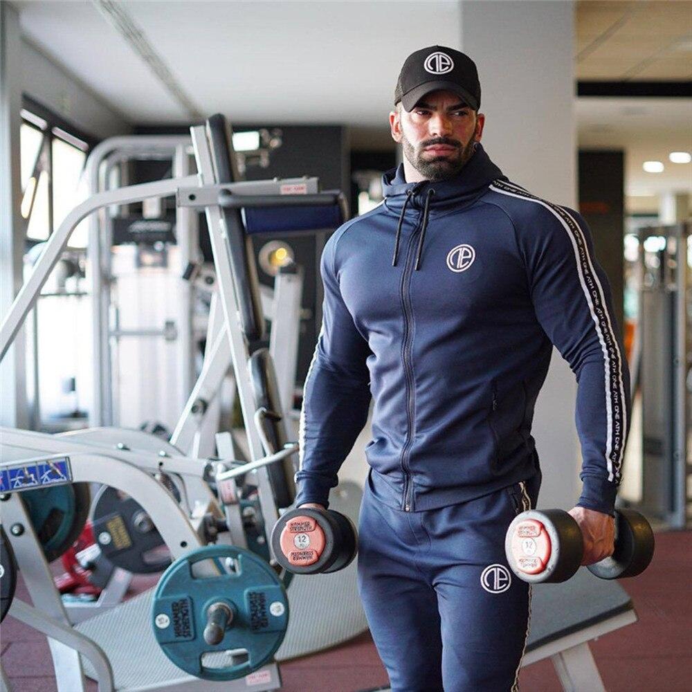 Gym Sportswear Suit Men Running Sport Tracksuits Fitness Sweatshirt Sweatpants Male Cotton Hoodie Pants Sets Jogging Tops Jacket