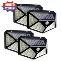 1-4 Uds. 3 modos 120 grados Luz de energía Solar de cuatro lados 100LED Sensor de movimiento ángulo lámpara de pared impermeable jardín al aire libre lámparas