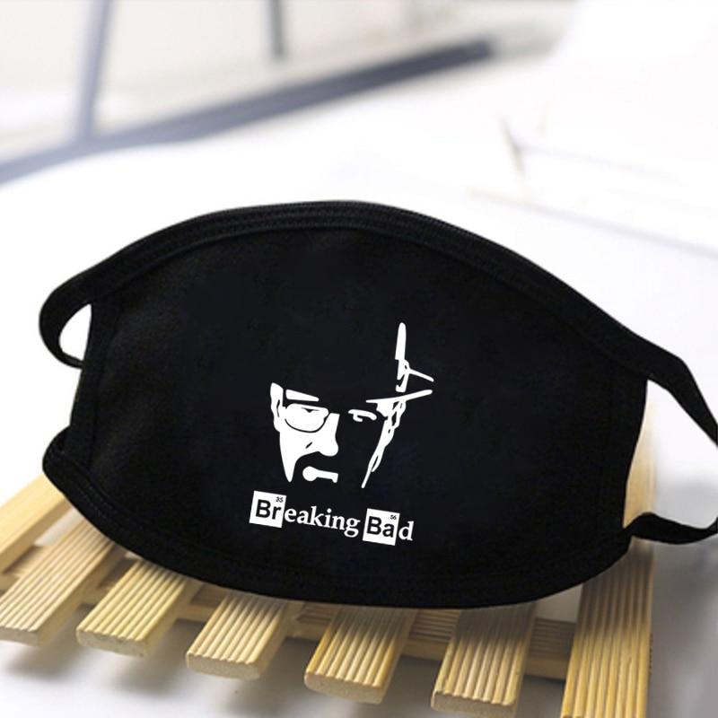 Mens/Women Breaking Bad Washable Dustproof Print Mask Skin-friendly High Quality Polyester Masks Anti Haze Windproof Black Masks